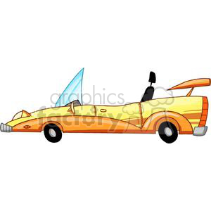 yellow cartoon convertible car clipart. Royalty-free image # 379411