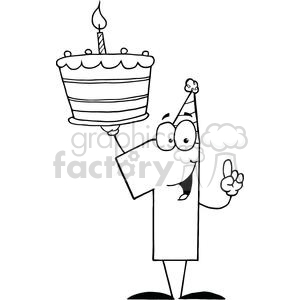 Number One With Birthday Cake And One Candle Lit clipart. Royalty-free image # 379416