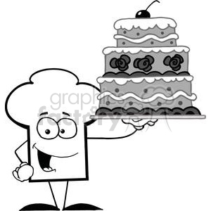 Cartoon Chefs Hat Character Holding Up A Beautifully Decorated Cake clipart. Commercial use image # 379421
