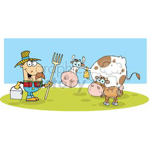 Male Farmer Calf And Cow clipart. Commercial use image # 379426