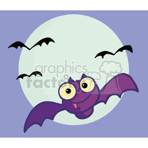 Cartoon Character Halloween Happy Bat clipart. Royalty-free image # 379431