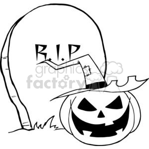 Black and White Cartoon R.I.P Gravestone with a Witch Pumpkin in front of it clipart. Commercial use image # 379441