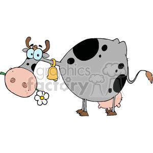 Grey and black cow with a bell on neck and flower in mouth clipart. Commercial use image # 379446