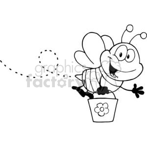 Cartoon Character Bee Flying  while holding a bucket