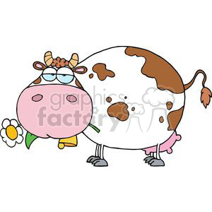 Farm Dairy Cow With Flower In Mouth clipart. Commercial use image # 379461