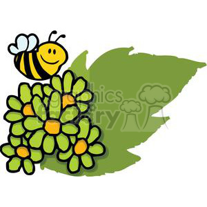 mascot cartoon character bee flying over flowers