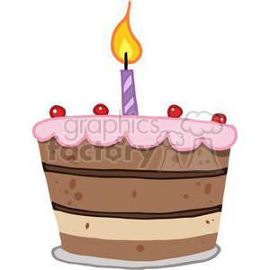 Birthday Cake With One Candle Lit clipart. Commercial use image # 379476