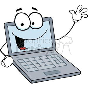 Laptop Cartoon Character Waving A Greeting clipart. Commercial use image # 379481