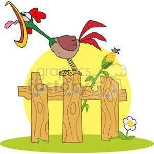 Mascot Cartoon Character A Cock Crowing Stepped On The Fence clipart. Commercial use image # 379486
