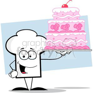 Cartoon Chefs Hat Character Holding Up A Beautifully Decorated Cake clipart. Commercial use image # 379491