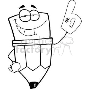 Pencil Cartoon Character Is Number One clipart. Royalty-free image # 379501