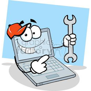 Laptop Cartoon Character Holding A Wrench photo. Royalty-free photo # 379506