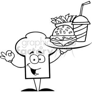 Cartoon Chefs Hat Character Holder Plate Of Hamburger And French Fries clipart. Commercial use image # 379511
