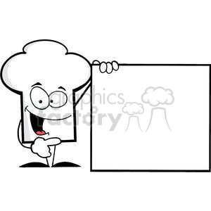 Cartoon Chefs Hat Character Presenting A Blank Sign clipart. Commercial use image # 379521