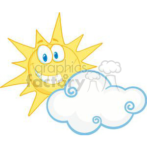 cartoon character smiling sun behind the cloud