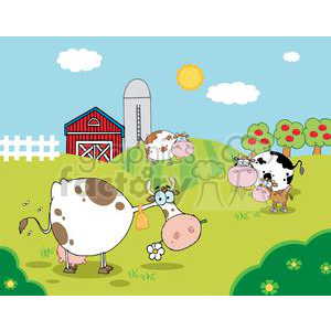 Country Farm Scene with three spotted cows and 1 brown calf clipart. Commercial use image # 379541