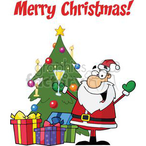 Santa Clause holding a champaign glass in the front of a Christmas Tree with presents Merry Christmas clipart. Commercial use image # 379546