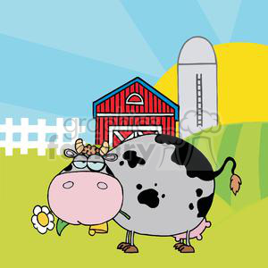 Cartoon Character Cow Different Color Gray In Front Of Country Farm clipart. Commercial use image # 379551