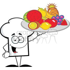 Cartoon Chefs Hat Character Holder Plate Of Fruits clipart. Royalty-free image # 379556