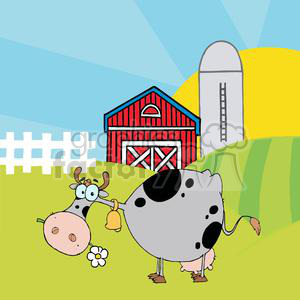 Cartoon Character Cow Different Color Gray In Front Of Country Farm clipart. Royalty-free image # 379561