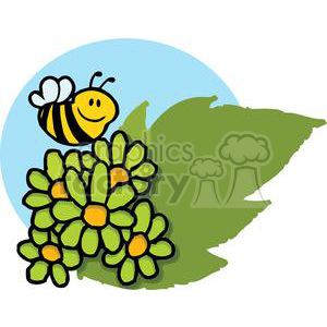 Mascot Cartoon Character Bee Flying Over Flowers clipart. Commercial use image # 379566
