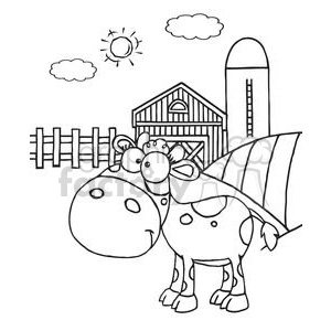 Cartoon Character Calf Different Color BW In Front Of Country Farm clipart. Commercial use image # 379576