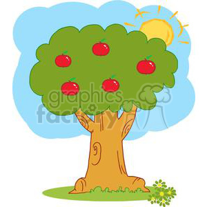 2152-Wood-Covered-With-Red-Apples clipart. Royalty-free image # 379591