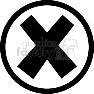x cross crossed error oops cancel stop close circle round circled icon vector black