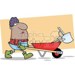 african american woman pushing wheel barrow full of tools