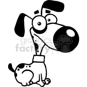 black and white cute cartoon dog