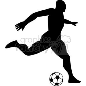 2532-Royalty-Free-Silhouette-Soccer-Player-With-Ball clipart. Royalty-free image # 379670
