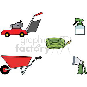 Mower, wheel barrel, garden hose, spray attachment, spray bottle tool set clipart. Commercial use image # 379675