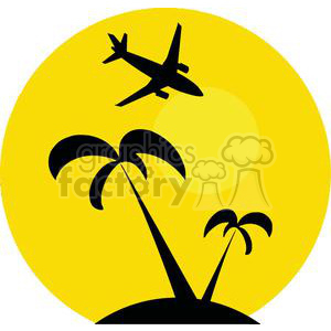 Airplane Flying Over Tropical Island clipart. Commercial use image # 379680