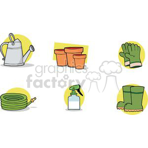 Water can, flower pots, green gloves, green boots, spray bottle, hose clipart. Royalty-free image # 379725
