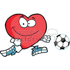 Healthy red heart character with a soccer ball clipart. Royalty-free image # 379730