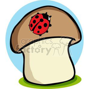 Ladybug on a mushroom clipart. Commercial use image # 379735