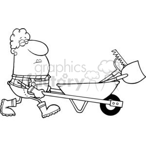 2466-Royalty-Free-Woman-Gardener-Drives-A-Barrow-With-Tools clipart. Commercial use image # 379745