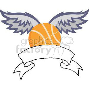 gold basketball with wings banner clipart. Royalty-free image # 379750
