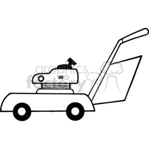 Black and white Mower clipart. Commercial use image # 379785
