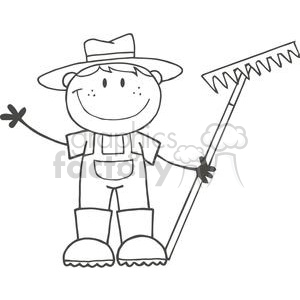 black and white farmer boy holding a rake