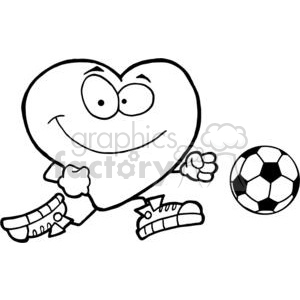 Healthy red heart character with a soccer ball clipart. Royalty-free image # 379795