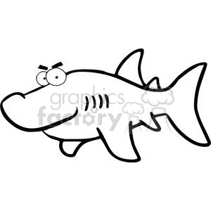 Black and white shark clipart. Royalty-free image # 379830