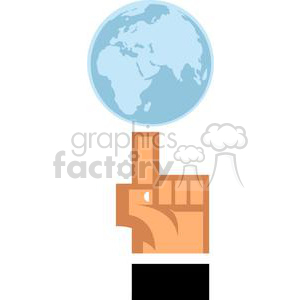 World Globe on top of a finger clipart. Royalty-free image # 379835