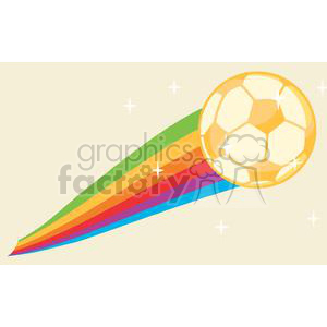 Worldcup Soccer Ball with a rainbow tail clipart. Commercial use image # 379855