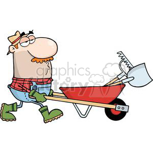 2462-Royalty-Free-Gardener-Drives-A-Barrow-With-Tools clipart. Royalty-free image # 379865