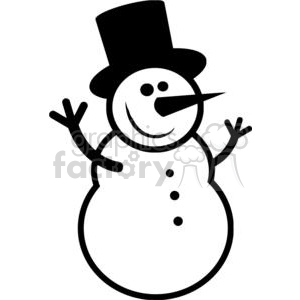 Black and White happy snowman clipart. Royalty-free image # 379870