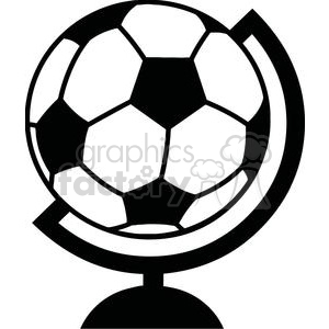 black and white soccer ball globe clipart. Royalty-free image # 379875