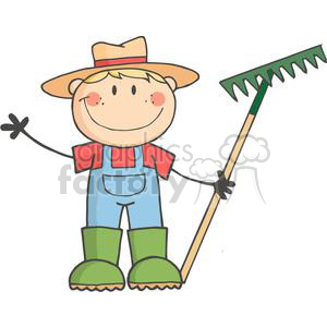 Farmer with a rake clipart. Commercial use image # 379880