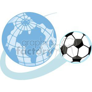 Soccer ball Flying around a world globe clipart. Royalty-free image # 379885