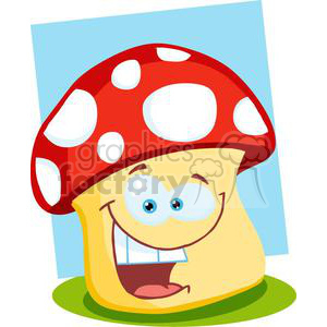 Smiling Mushroom cartoon clipart. Commercial use image # 379895